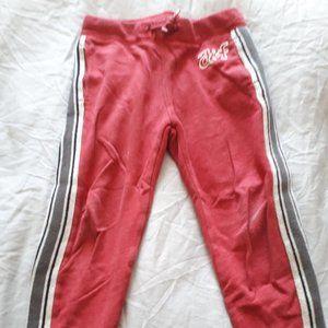 track pants red w/grey white black side stripe